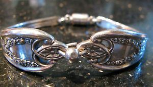 Silver Spoon Bracelet w Easy Magnetic Closure Lovely Pattern