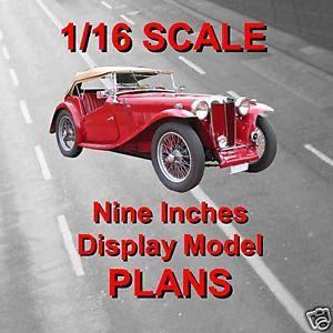 Scale Model Car Plan MG TC Midget Instructions Full Size Plans