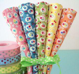 FQ Bundle 100 Cotton Fabric Roses Floral Shabby Vintage Cottage Chic Dots