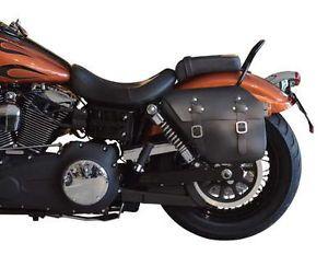 Leather Saddlebag Harley Davidson Dyna Sport Super Glide Fat Bob Street Bob