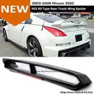 For 03 08 Nissan 350Z NIS RS Style Black Rear Trunk Wing Spoiler LED Brake Light