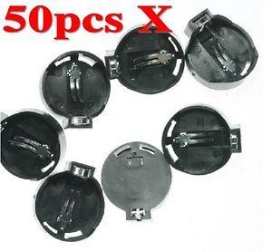 50pcs CR2025 CR2032 Button Coin Cell Battery Socket Holder Case Black