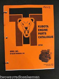 Kubota D722 Series Diesel Engine Parts Manual Thomas Skid Steer