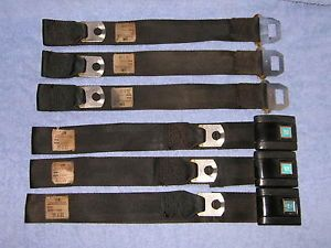 68 69 70 71 Chevy Camaro Rear Seat Belts Black GTO LeMans Olds 442 Nova GM