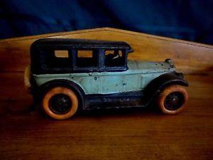 "Vintage Cast Iron Taxi Car Republic Rubber Co Youngstown Tires Sedan 8"""