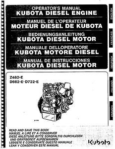 Kubota Diesel Engine Motor Manual for Z482 E D662 E D772 E in Five Languages