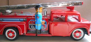 1960's STI Tin lithographed Friction Fire Engine Ladder Truck Needs Repairs
