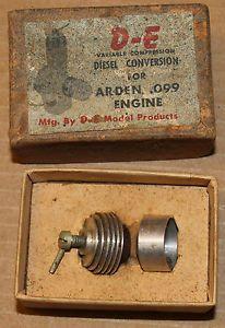 Vintage D E Diesel Conversion for Arden 099 Engine Model RC Airplane Part