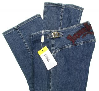 "Versace ""Tattoo"" Womens Logo Jeans Straight Leg Pants Denim Blue Red"