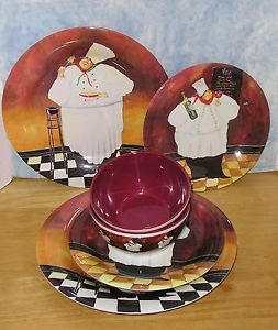 ... Jennifer Garant Fat Chef Collection Melamine Dinnerware for 2 New ... : fat chef dinnerware - pezcame.com