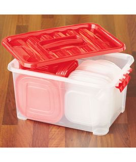 58 Clear Kitchen Storage Plastic Food Container w Lid Nesting Microwave Leftover
