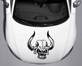 Custom Viking Skull Horns Car Truck Hood Vinyl Decal Free Shipping Squeegee 05