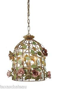 Shabby French Cottage Chic Vintage Tole Style Bird Cage Roses Chandelier New