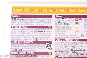 Canon EOS 60D Digital Camera Photo Bert Cheat Sheet