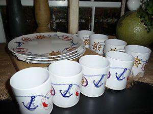 ... New Lillian Vernon Melamine Boat Nautical Non Slip Dishes Plates Cups Set of 8 ... & Pottery Barn Talavera Melamine Dishes Salad Plates Dinnerware Set 6
