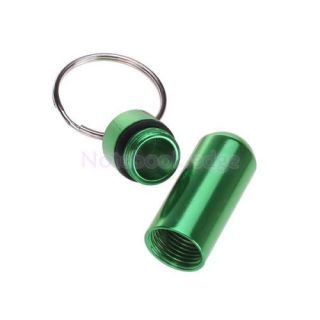 Aluminum Alloy Water Proof Pill Fob Case Box Holder with Keychain Camping Green