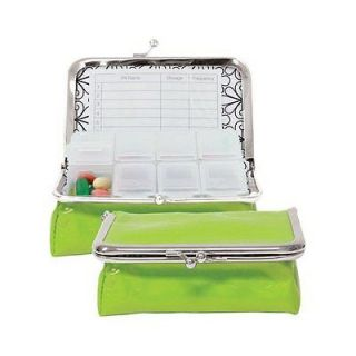 Wellspring Large Green Spruce Pill Box Case Travel Vitamins Organizer Pillbox