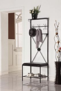 Kings Brand Black Metal Entryway Hall Tree Storage Rack with Bench 12 Hooks