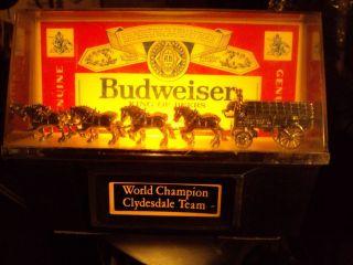 Vintage Budweiser Beer Clydesdale Team Horse Wagon Cash Register Light Sign