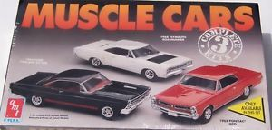 AMT Ertl Muscle Cars 3 Pack GTO Roadrunner Fairlane Plastic Model Car Kit 8123