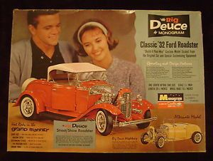 Vintage 1 8th Monogram The Big Deuce '32 Ford Roadster Hotrod Model Car Kit PC88