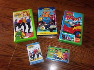 Lot of 5 Wiggles VHS Tapes Cassettes Let's Dance Yummy TOOT Tots More GC