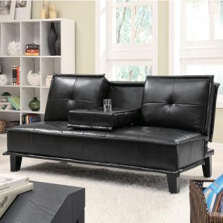 Beautiful Looking Black Bycast Leather Plush Seating Cup Holders Sofa Bed Futon