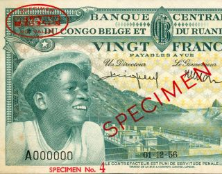 1956 Belgian Congo Ruanda 20 Francs Specimen de La Rue Banknote Papermoney