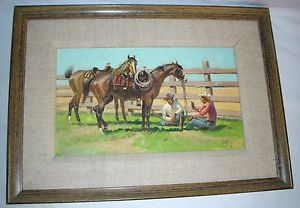 Cowboy Painting Oil 1970s Frame Horses Coral Western Americana Rawhide Charming