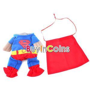 Blue Red Puppy Pet Dog Clothes Costumes Superman Apparel T Shirt Suit Size XS