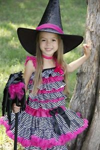 Boutique Pageant Girls Witch Halloween Costume Pink Pettiskirt Size 5yr 6yr