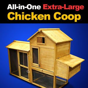 New XL Wooden Chicken Coop Nesting Box Hen House Chick Pen Rabbit Hutch HJ005