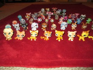 Big Lot of 54 Littlest Pet Shop Pets Dogs Cats Bunnies Reptiles Lions More