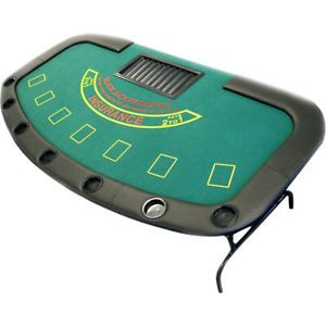 Blackjack Game Table with Folding Legs Black Jack Seats 7 Fun Casino Party