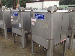 """Sold Each 200 Gallon Transtore Stainless Steel Tote Tank Stackable w 1"""" Valve"""