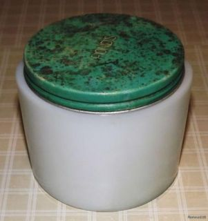 Vintage White Milk Glass Ponds Cold Cream Jar w Metal Lid