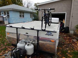 Bike rack on pop up camper