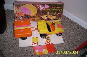 Vintage 1970's Mattel Barbie Going Camping Set Dune Buggy Pop Up camper 1973 Box