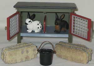 Schleich Retired Rabbit Hutch 41216 2 Rabbits 13121 13127