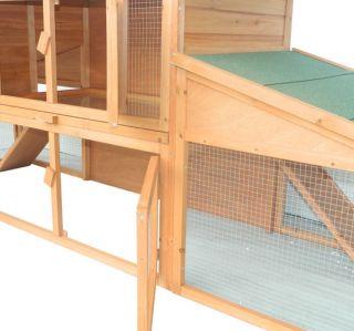 New Deluxe Large Wooden Rabbit Hutch Hen House Double Run Wood Chicken Coop