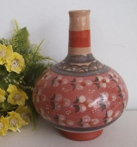 Vintage Hand Made Clay Mexican Pottery Vase Hand Painted Made in Mexico