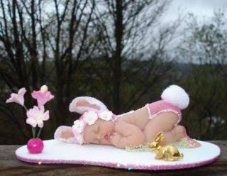 OOAK Fairy Fae Pixie Sleeping Baby Angel Bunny Art Doll Polymer Clay Sculpt