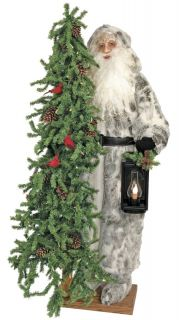 """57"""" Ditz Father Christmas Santa Claus Standing Tree Silver Robe Winter Woods"""