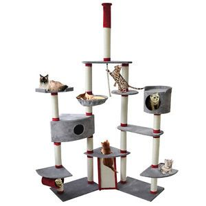 "New 102"" Gray Cat Tree Condo Furniture Scratch Post Pet House"