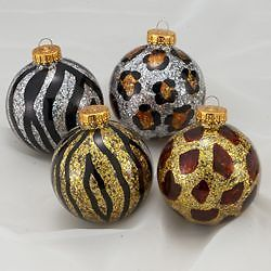 Animal Print Christmas Tree Ornaments