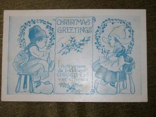 Vintage Dutch Christmas Postcard Christmas Greetings