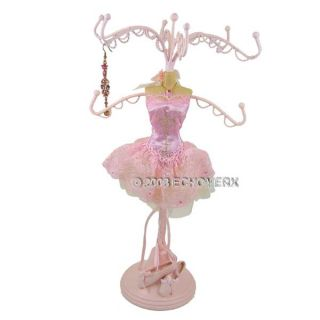 Ballerina Jewelry Stand Tree Doll Organizer Display Holder Mannequin Pink Lace