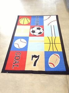 Kids Sports Area Rug Great for Kids Room Nusery Classroom Free Shipping