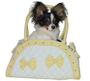 New Very Small Teacup Pet Dog Carrier White with Yellow Bows Rhinestones Cute