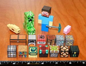 Custom Minecraft Lego Toy Steve Creeper Diamond Pickaxe Animals Blocks